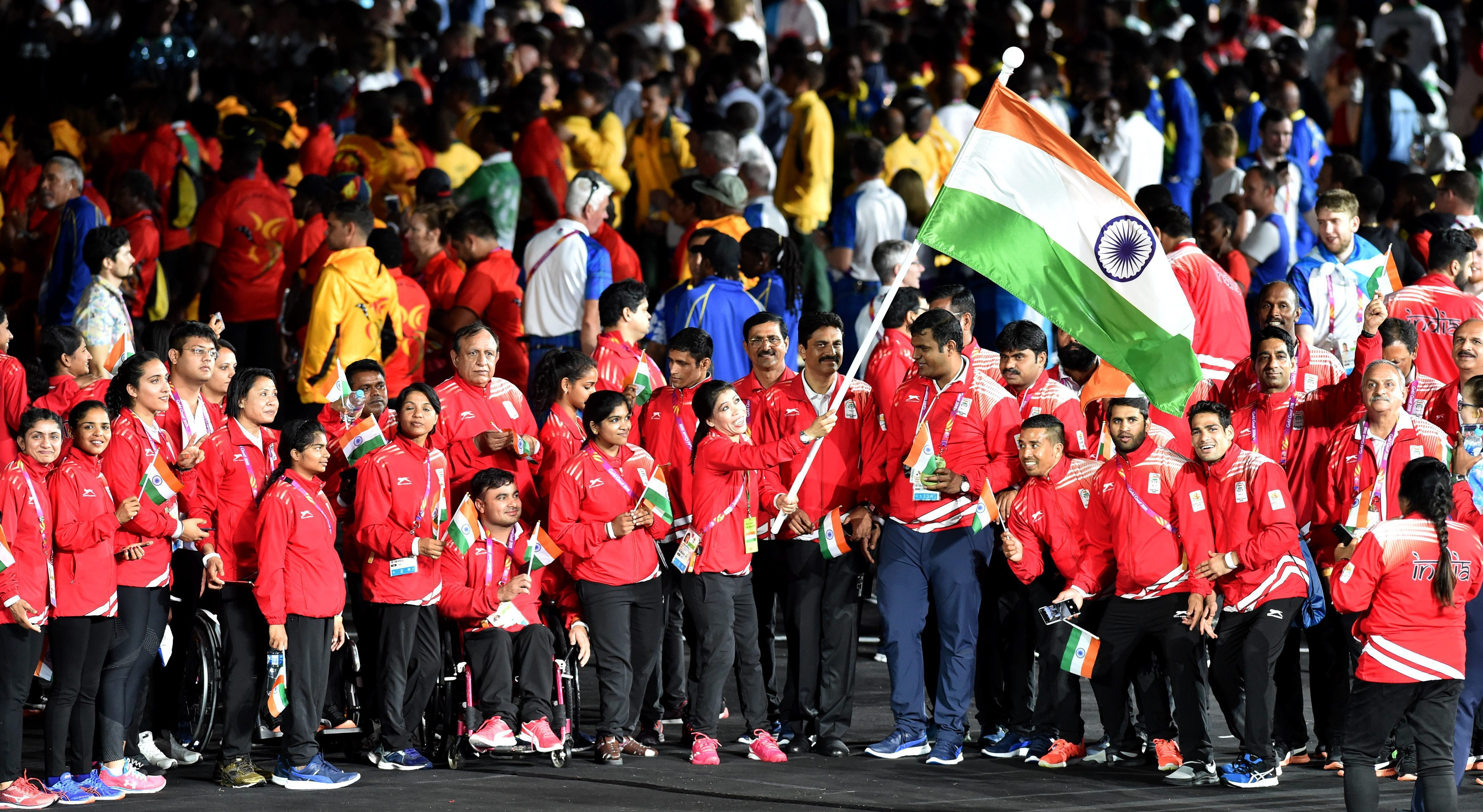The Indians at the closing ceremony of the Games
