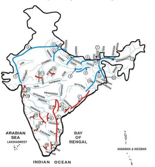 The thick blue and red lines show canals that will be built to link rivers